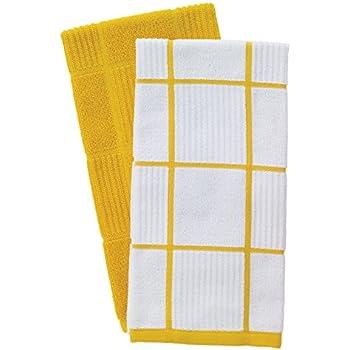 T-Fal Textiles 60943 2-Pack Solid & Check Parquet Design 100-Percent Cotton Kitchen Dish Towel, Lemon, Solid/Check-2 Pack