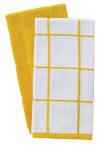 T-Fal Textiles Woven Solid & Checked Parquet Design, Highly Absorbent 100% Cotton Kitchen Dish Towel, 16-inch by 26-inch, Set of 2, Lemon by T-fal Textiles