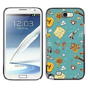 TopCaseStore / la caja del caucho duro de la cubierta de protección de la piel - Gift Teal Wallpaper Clean Kids - Samsung Galaxy Note 2 N7100