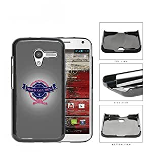 Proud Navy Mom with Pink Rope Ribbon & Letters with Grey Background Motorola (Moto X) Hard Snap on Plastic Cell Phone Case Cover