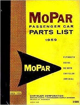 Factory MoPar Parts Manual for 1959 Plymouth - Dodge - DeSoto