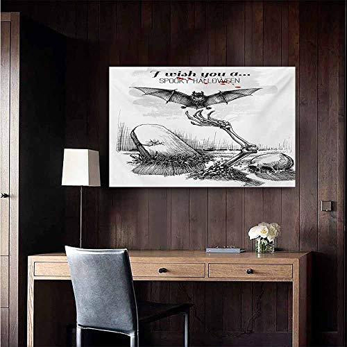 duommhome Halloween Simulation Oil Painting Dead Skull Skeleton Out of The Grave and Flying Bat Hand Drawn Spooky Picture Decorative Painted Sofa Background Wall 47
