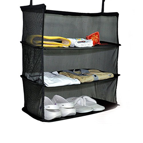 Xiaolanwelc@ 3 Tier Mesh Hanging Bag Wardrobe Holder Collapsible Travel Organizer 50x30x58cm Black Luggage Clothes Shoe Shelf Storage Baskets by Xiaolanwelc