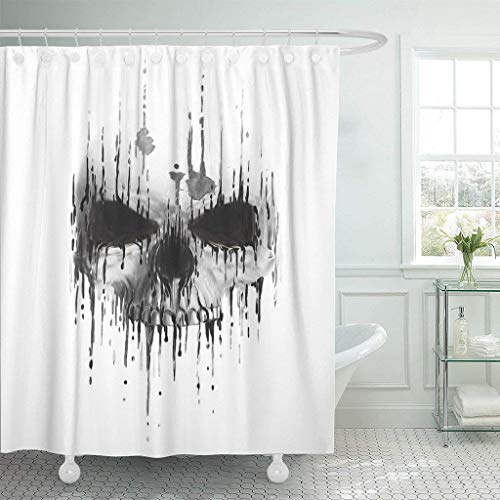 SPXUBZ Tattoo Skull Scary Human Face Horror Artwork Death Devil Halloween Drawing Skeleton Evil Watercolor Shower Curtain Waterproof Bathroom Decor Polyester Fabric Curtain Sets with -