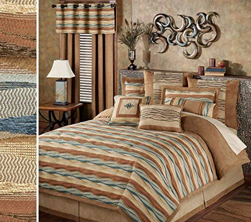 Home Fashions International Southwest Modern Contemporary Oasis Wave Striped Comforter Bedding 9 Piece Set Saddle Brown Queen