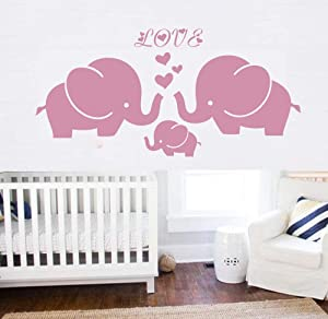 Large Elephant Wall Decal with Elephant Family Wall Decal Removable Vinyl Wall Art Elephant Bubbles Wall Stickers Baby Nursery Wall Decor (Pink)