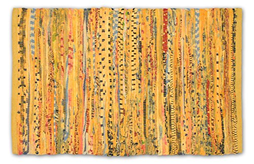 DII Contemporary Reversible Indoor Area Rag Rug, Machine Washable, Handmade from Recycled Fabrics, Unique For Bedroom, Living Room, Kitchen, Nursery and more, 4 x 6' - Mustard