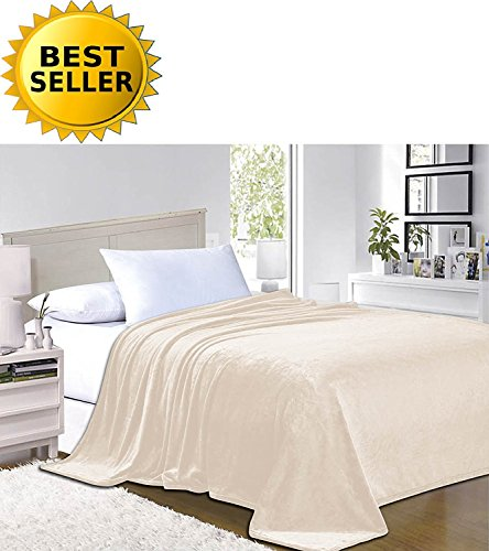 (Elegant Comfort #1 Fleece Blanket on Amazon - Super Silky Soft - Sale - All Season Super Plush Luxury Fleece Blanket Full/Queen Cream)