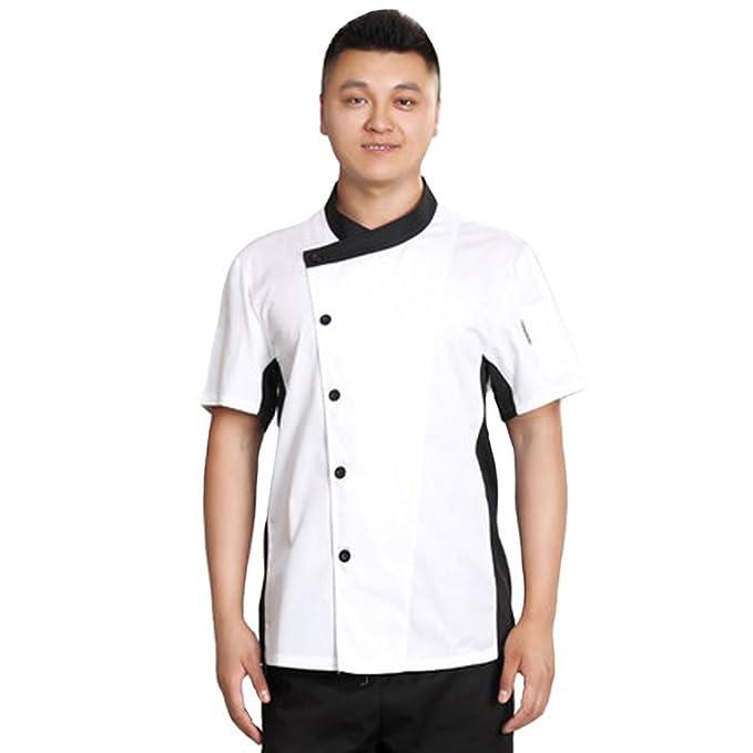 Verano Chef abrigos chaquetas de restaurante Hotel Cocina camiseta de manga corta para Chef: Amazon.es: Ropa y accesorios