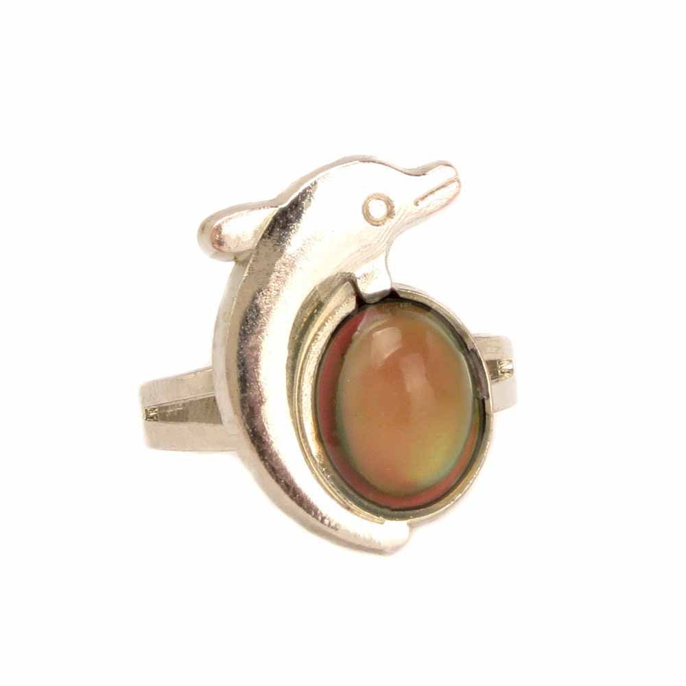 One Size fits All June-29 10pcs Imitation Platinum Fine Jewelry Mood Rings Classic Temperature Change Color Mood Ring Lovers Adjustable Size