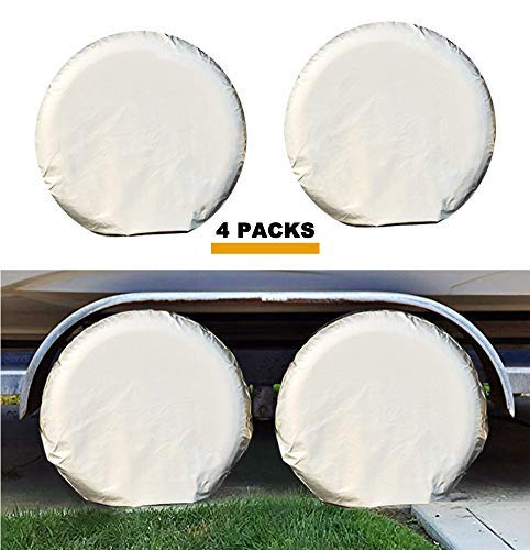 Kayme Four Layers Tire Covers Set of 4 for Rv Travel Trailer Camper Vinyl Wheel, Sun Rain Snow Protector, Waterproof, Fits 33-35 Inch Tire Diameter XXL