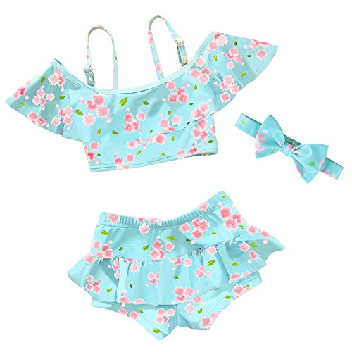 Little Girls 3 Pieces Cherry Blossoms Pattern Lovely Tankinis Swimear Swimsuit 3-12 Years (5-6Years(Tag No. 6A), Blue) ()