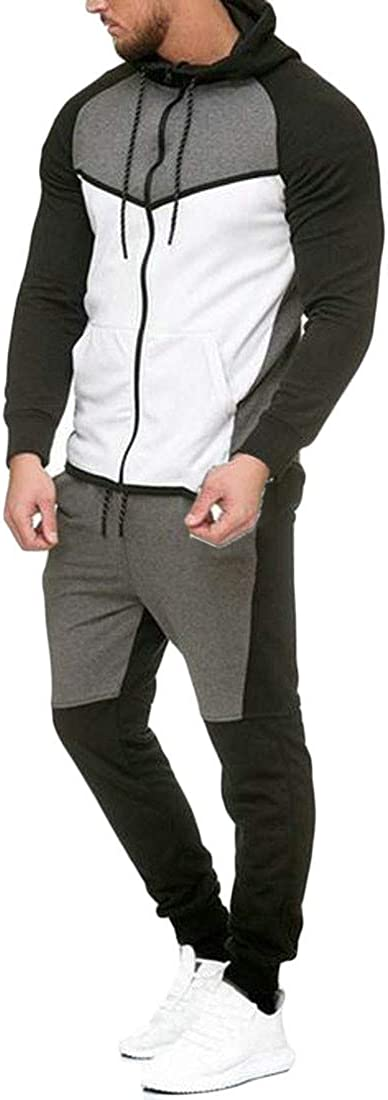 XTX Mens Color Block Hooded Sweatshirt and Pants Casual Sportwear Tracksuit Set