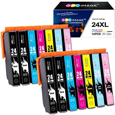Gpc Image 24xl Compatible Printer Cartridges Replacement For Epson 24 Xl For Expression Photo Xp 55 Xp 750 Xp 760 Xp 850 Xp 860 Xp 950 Xp 960 Printers 4 Black 2 Cyan 2 Magenta 2 Yellow 2 Lc 2 Lm 14 Pack Bürobedarf