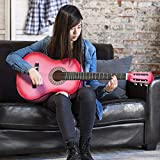 New Beginners Acoustic Guitar With Guitar Case, Strap, Tuner and Pick Pink