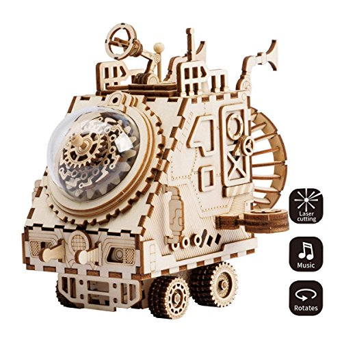 ROKR 3D Assembly Puzzle Build Your Own Wooden Music Box Craft Kits, Brain Teaser Gifts for Kids and Adults (Spaceship) -
