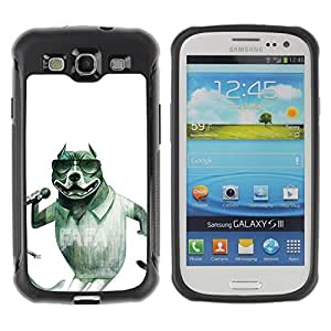 KROKK CASE Samsung Galaxy S3 I9300 - dog singer sunglasses pit-bull funny - Rugged Armor Slim Protection Case Cover Shell