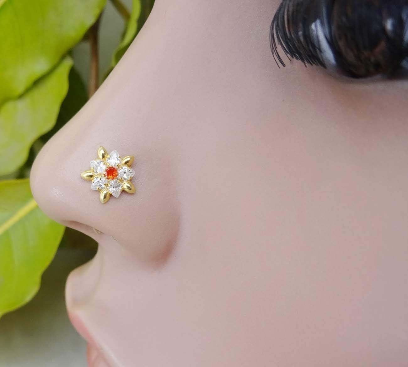 TEJ037 Sunflower Nose Screw,Citrine Gold Nose Stud,CZ Nose Stud,Crystal Nose Screw,Diamond Nose Bones,Marquise Nose Stud,925 Sterling Silver Nose Stud,Gold Nose Piercing,Crock Screw Nose Stud