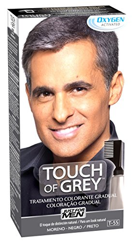 Just For Men, Touch of Grey, Tinte Pelo Reductor de Canas para Hombres, Reduce parcialmente las Canas, Moreno Negro, 40 g