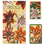 Entertaining with Caspari Bridge Playing Card Gift Set, Amaryllis