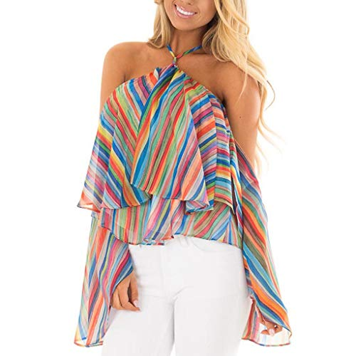 (Toimothcn Women Bell Sleeve Rainbow Stripe Print Cold Shoulder Halter Tops Shirt Blouse (Multicolor,S))