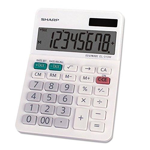 Sharp EL-310WB Mini Desktop Calculator, 8 Digit Angled Display, White, 3.38'' x 4.75'' x 1.0'' by Sharp