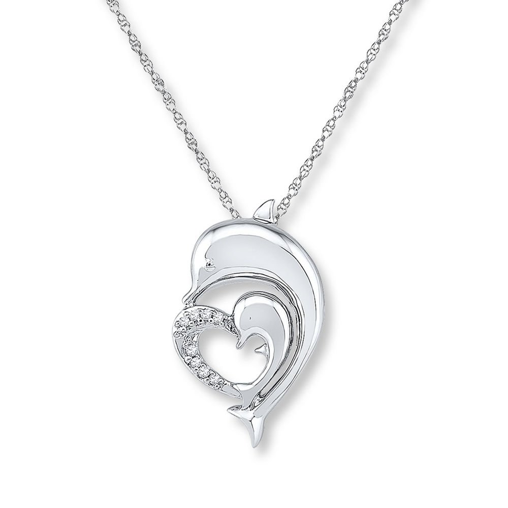 Valentine/'s Day Love Gift Dolphin Heart Necklace Diamond Accents 14K White Gold Plated