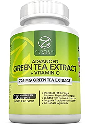 Green Tea Extract Supplement - Decaffeinated, Vegetarian Pills Support Weight Loss, Heart Health with EGCG And Vitamin C for An Added Health Boost