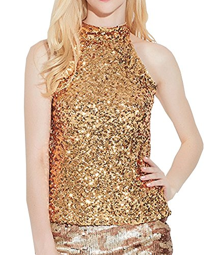 25cc8beeaf9e6b Swrose Womens Shimmer Flashy All Sequins Embellished Sparkle Vest Tank  Tops