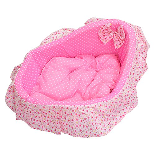 SODIAL(R) Deluxe Plush Cushion Pet Mat Dog Cat Puppy Soft Sleeping Pad Bed Nest pink S