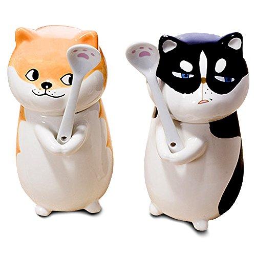 Cartoon Akita Funny Dog Coffee Cups with Lid and Spoon as Cool Gifts (Akita Coffee Mug)