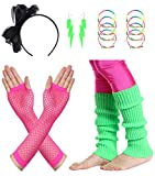 JustinCostume Women's 80s Outfit Accessories Neon Earrings Leg Warmers Gloves (G)