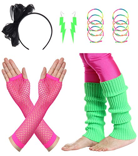 JustinCostume Women's 80s Outfit Accessories Neon Earrings Leg Warmers Gloves (G) (80s Clothes For Girls)