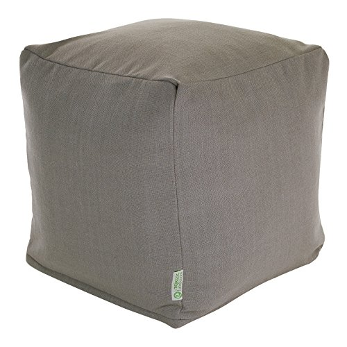 Majestic Home Goods Gray Wales Indoor Bean Bag Ottoman Pouf Cube 17