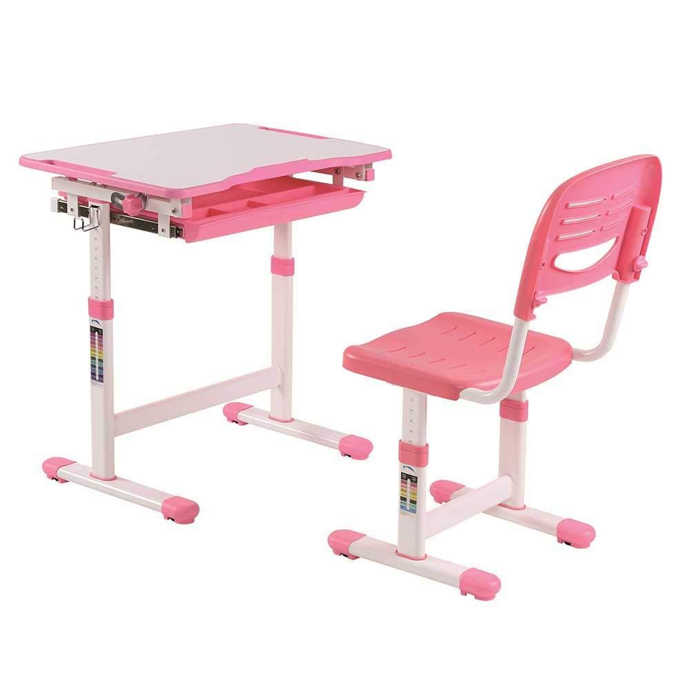 Pharao24 Höhenverstellbarer Schülerschreibtisch und Stuhl in Rosa Weiß