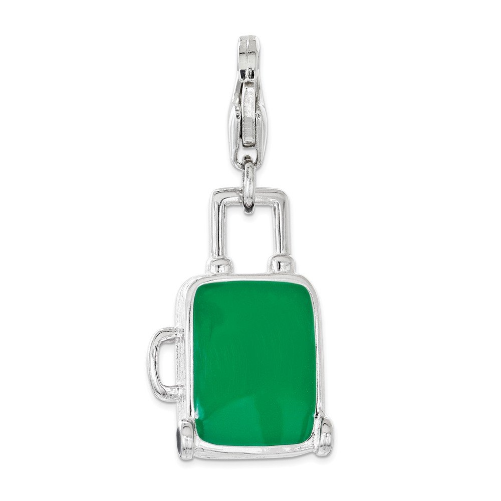 FB Jewels Solid Sterling Silver Enameled Brazilian Flag Suitcase Lobster Clasp Charm