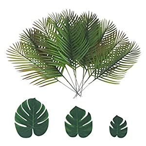 ShoppeWatch Artificial Palm Leaves with Stem and Tropical Monstera Fronds (48 Pcs) Philodendron Party Decorations Faux Palm Tree Plant Leaf Fake Imitation Ferns Branches Home Kitchen Plastic Decor 1