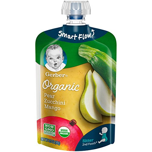 Gerber Organic 2nd Foods Baby Food Puree Pouch, Pear, Zuchini and Mango, 12 Count