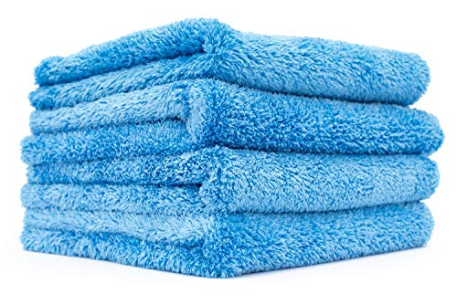 THE RAG COMPANY (4-Pack 16 in. x 16 in. Eagle EDGELESS 500 Professional Korean 70/30 Super Plush 500gsm Microfiber Detailing Towels (16x16, Blue) ()