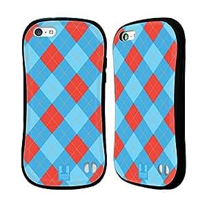 Head Case Designs Red and Blue Argyle Hybrid Gel Back Case for Apple iPhone 5c