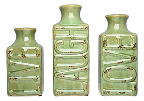 "Mayrich Crackled ""Live Laugh Love"" Vases, Set of 3, Green - LG: 9 x 4 x 4 in. / MD: 8 x 4 x 4 in. / SM: 7 x 4 x 4 in. Made of Porcelain Green Crackled Finish with Faux Rust Gives the Vases a Timeworn Vintage Vibe - vases, kitchen-dining-room-decor, kitchen-dining-room - 51DO83nVF1L -"