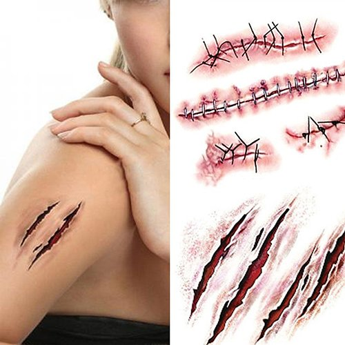 StaunchWea 5Pcs Zombie Scars Temporary Tattoo Sticker for Halloween Horror Body Face Decals for Cosplay Party Prank Prop