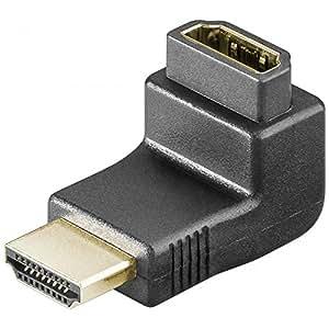 Goobay 69782 - Adaptador de HDMI acodado (conector HMDI macho de 19 pines a conector HDMI hembra, conectores dorados)