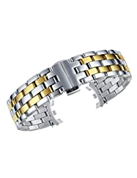 20mm Premium Metal Watch Strap Wristband Stainless Steel in Two Tone Silver and Gold Special Connection