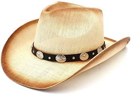 GR Sombrero de Vaquero de Las Mujeres de los Hombres de la Paja Sombrero  Occidental del Vaquero del Hombre con la Venda de Cuero de la Moda para  señora papá 4f525eca2fb