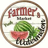 Farmers Market Watermelon Novelty Metal Circular Sign C-624