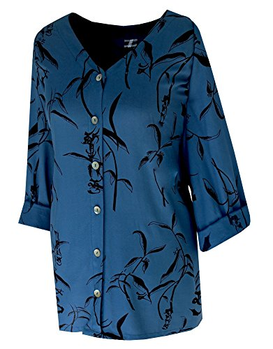 1x 2x 3x Women's Plus Size Shirt   Button Down Front   Classic Sleeves (26/28, Royal Navy)