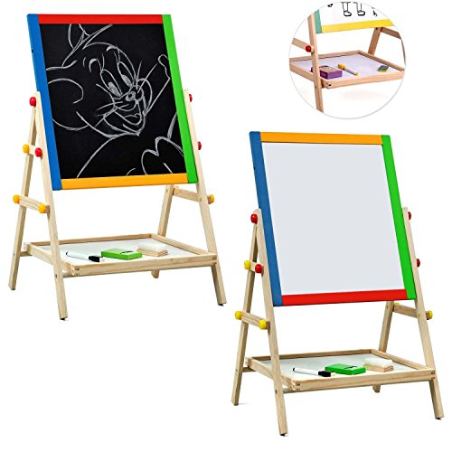 Childrens Drawing Easels (Kids Drawing Easel Board, Bedroom Free Standing 2 in 1 Black / White Double Sided Wooden Easel Chalk Drawing Board Children Learning Board)