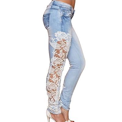 Dooxi Femmes Décontractée Skinny Stretch Denim Pantalons Élégant Dentelle Ajouré Jeans avec Les Poches