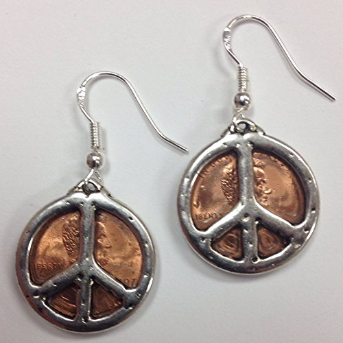 Penny Earrings with Peace Signs, on sterling silver earwires, USA coin jewelry